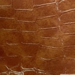 Glossy Crocodile Vinyl Faux Fake Leather Pleather Embossed Fabric Brown