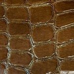 Glossy Crocodile Vinyl Faux Fake Leather Pleather Embossed Fabric Umber