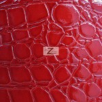 Shiny Alligator Vinyl Faux Fake Leather Pleather Embossed Fabric Red