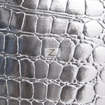 Shiny Alligator Vinyl Faux Fake Leather Pleather Embossed Fabric Silver