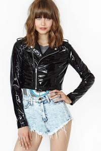 Glossy Vinyl Fake Leather Fabric Jacket