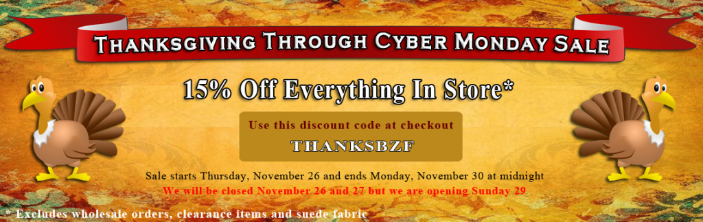 Big Z Fabric Thanksgiving to Cyber Monday Vinyl Sale