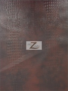Alligator Embossed Vinyl Fabric Wood Brown
