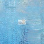 Metallic Crocodile Embossed Vinyl Fabric Blue