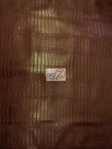 Brown Big Nile Crocodile Vinyl Fabric