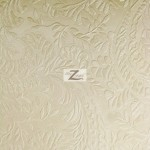 Floral Garden Vinyl Faux Fake Leather Pleather Embossed Fabric Ivory