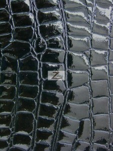 Shiny Alligator Vinyl Faux Fake Leather Pleather Embossed Fabric Black