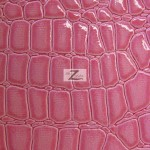 Shiny Alligator Vinyl Faux Fake Leather Pleather Embossed Fabric Dark Pink