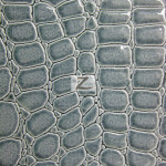 Shiny Alligator Vinyl Faux Fake Leather Pleather Embossed Fabric Gray