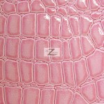 Shiny Alligator Vinyl Faux Fake Leather Pleather Embossed Fabric Pink
