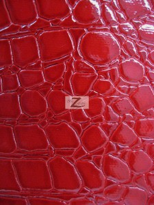 Shiny Alligator Vinyl Faux Fake Leather Pleather Embossed Fabric Fire Red