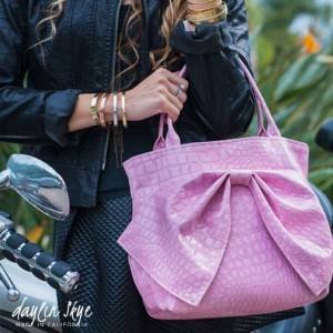 Pink Embossed Alligator Vinyl Signature Bag