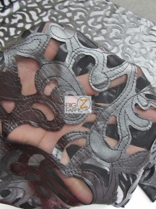 Trendy Paisley Mesh Vinyl Fabric Close Up