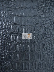 Black Big Nile Crocodile Vinyl Fabric