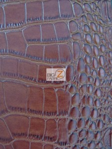 Crocodile Skin Vinyl Fabric Brown