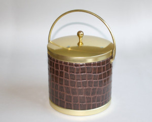 Crocodile Skin Vinyl Vintage Ice Bucket