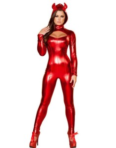 Sexy Devil Vinyl Fabric Halloween Costume