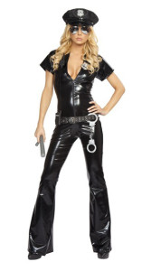 Shiny Vinyl Fabric Sexy Cop Halloween Costume