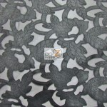 Floral Vinyl On Mesh Fabric Black