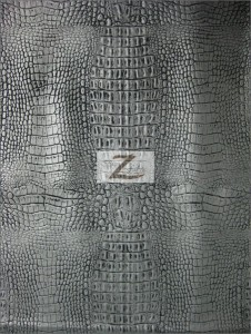 Silver Black Undertone Alligator Embossed Vinyl Fabric