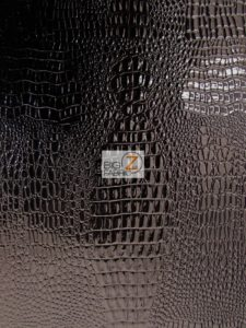 Shiny Amazon Crocodile Vinyl Fabric Black