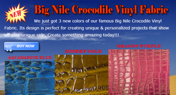 New Colors Big Nile Crocodile Vinyl Fabric